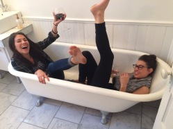 sometimes we end up in a clawfoot bathtub.